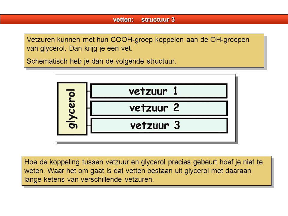 vetten: structuur 3 Vetzuren kunnen met hun COOH-groep koppelen aan de OH-groepen van glycerol.