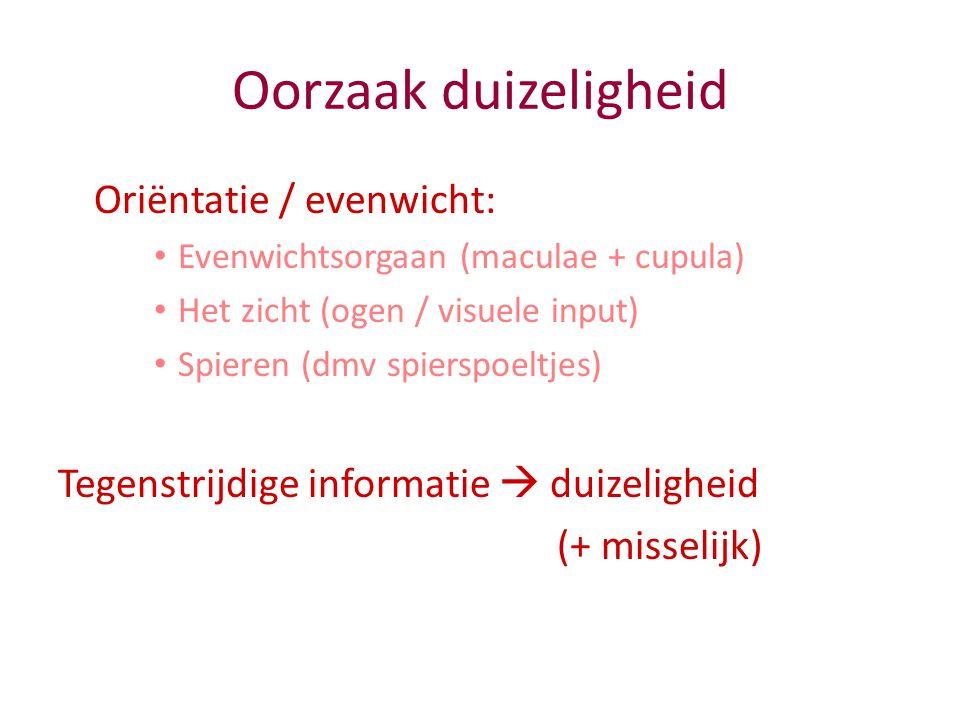 Oorzaak duizeligheid Oriëntatie / evenwicht: Evenwichtsorgaan (maculae + cupula) Het zicht (ogen / visuele input) Spieren (dmv spierspoeltjes) Tegenst