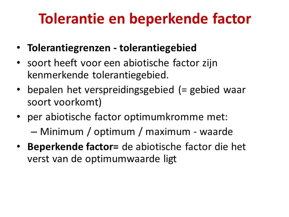 Tolerantie en beperkende factor Tolerantiegrenzen - tolerantiegebied soort heeft voor een abiotische factor zijn kenmerkende tolerantiegebied. bepalen