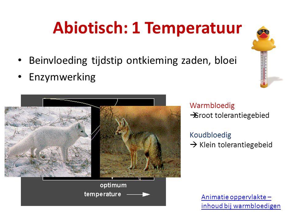 Abiotisch: 1 Temperatuur Beinvloeding tijdstip ontkieming zaden, bloei Enzymwerking Warmbloedig  Groot tolerantiegebied Koudbloedig  Klein toleranti