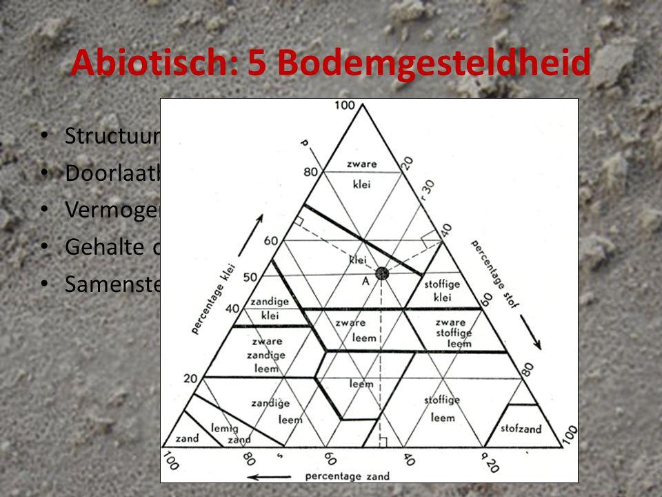 Abiotisch: 5 Bodemgesteldheid Structuur Doorlaatbaarheid (lucht/water) Vermogen water vast te houden Gehalte organische stoffen (humus) Samenstelling