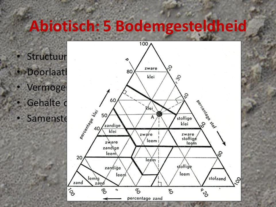 Abiotisch: 5 Bodemgesteldheid Structuur Doorlaatbaarheid (lucht/water) Vermogen water vast te houden Gehalte organische stoffen (humus) Samenstelling (pH, nitraten)