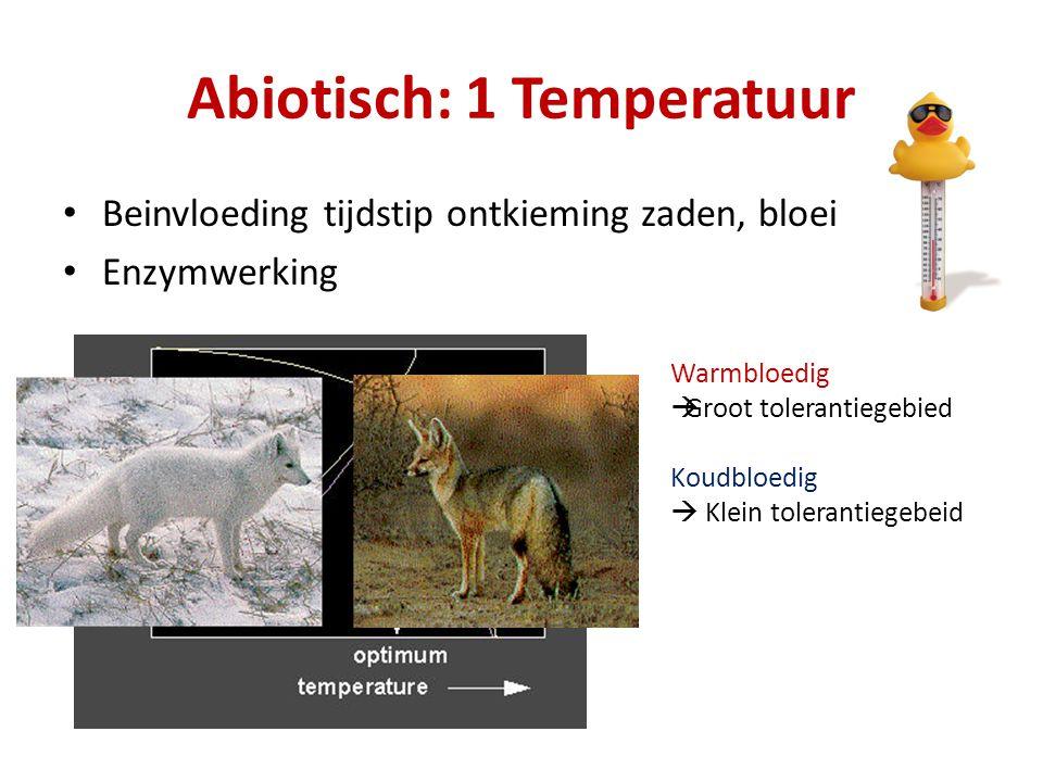Abiotisch: 1 Temperatuur Beinvloeding tijdstip ontkieming zaden, bloei Enzymwerking Warmbloedig  Groot tolerantiegebied Koudbloedig  Klein tolerantiegebeid