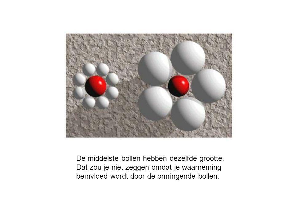 De middelste bollen hebben dezelfde grootte. Dat zou je niet zeggen omdat je waarneming beïnvloed wordt door de omringende bollen.