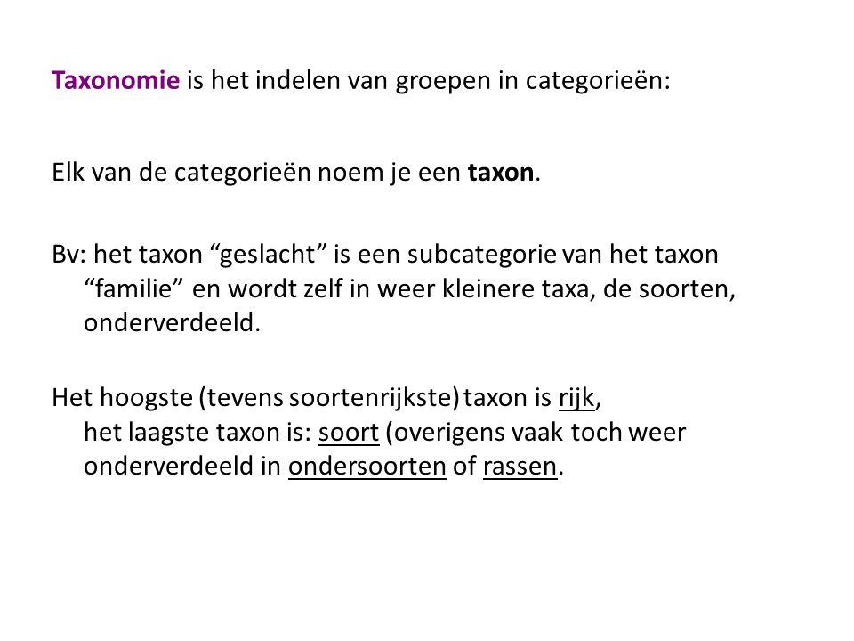 Taxonomie is het indelen van groepen in categorieën: Elk van de categorieën noem je een taxon.