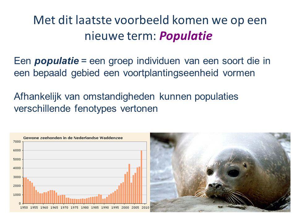 Met dit laatste voorbeeld komen we op een nieuwe term: Populatie Een populatie = een groep individuen van een soort die in een bepaald gebied een voortplantingseenheid vormen Afhankelijk van omstandigheden kunnen populaties verschillende fenotypes vertonen
