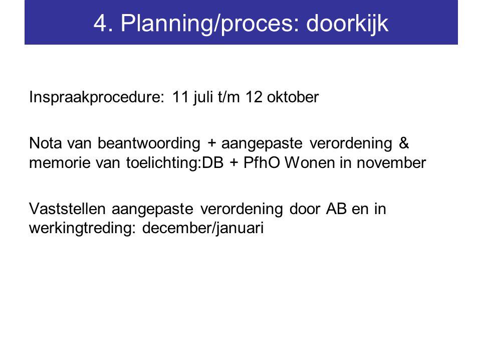 Inspraakprocedure: 11 juli t/m 12 oktober Nota van beantwoording + aangepaste verordening & memorie van toelichting:DB + PfhO Wonen in november Vaststellen aangepaste verordening door AB en in werkingtreding: december/januari 4.
