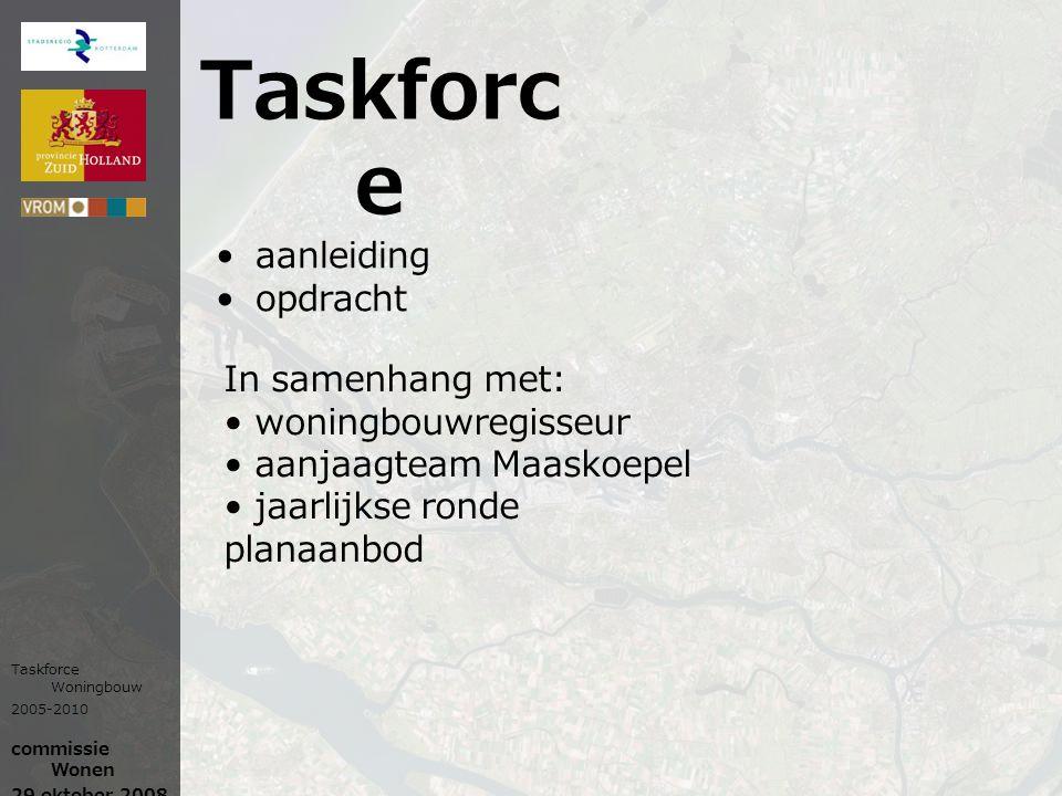 Taskforc e aanleiding opdracht In samenhang met: woningbouwregisseur aanjaagteam Maaskoepel jaarlijkse ronde planaanbod Taskforce Woningbouw 2005-2010