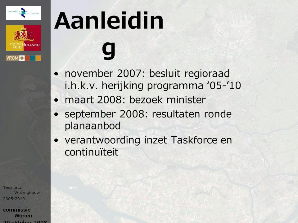 Aanleidin g november 2007: besluit regioraad i.h.k.v. herijking programma '05-'10 maart 2008: bezoek minister september 2008: resultaten ronde planaan