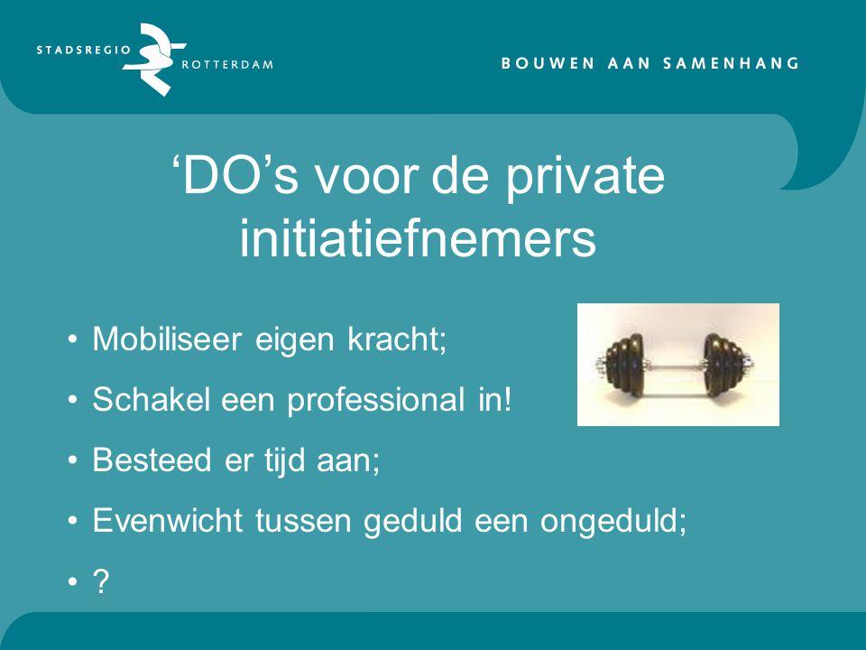'DO's voor de private initiatiefnemers Mobiliseer eigen kracht; Schakel een professional in.