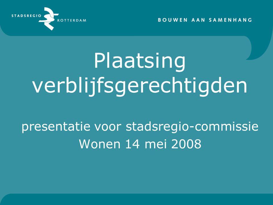 Plaatsing verblijfsgerechtigden presentatie voor stadsregio-commissie Wonen 14 mei 2008