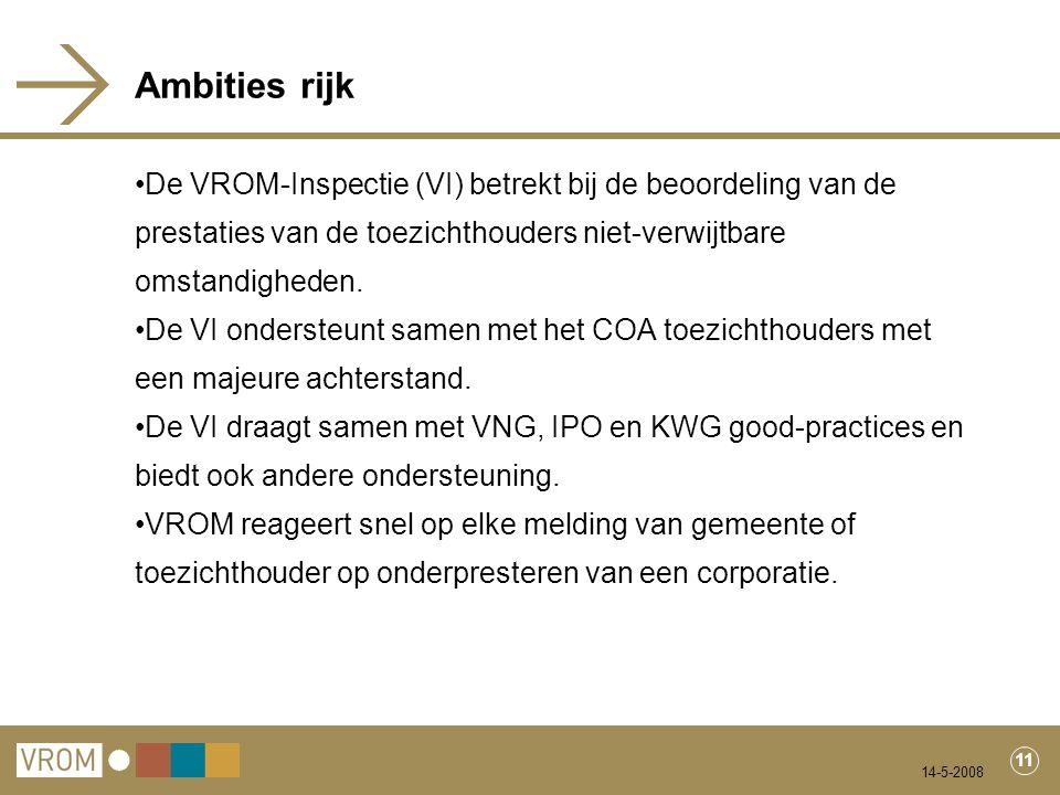 14-5-2008 11 Ambities rijk De VROM-Inspectie (VI) betrekt bij de beoordeling van de prestaties van de toezichthouders niet-verwijtbare omstandigheden.
