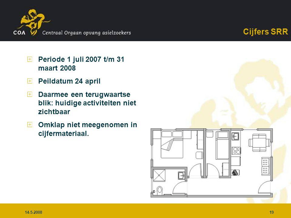 14-5-200819 Cijfers SRR Periode 1 juli 2007 t/m 31 maart 2008 Peildatum 24 april Daarmee een terugwaartse blik: huidige activiteiten niet zichtbaar Omklap niet meegenomen in cijfermateriaal.