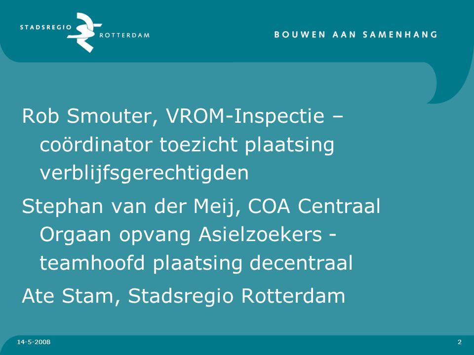 14-5-2008 3 Huisvesting Verblijfsgerechtigden Rob Smouter, VROM-Inspectie regio Zuid-West Inhoud presentatie: Taken vanuit de Huisvestingswet.