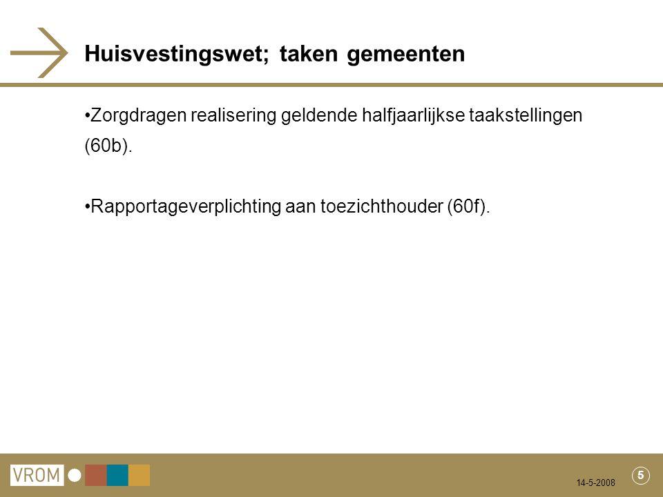 14-5-2008 5 Huisvestingswet; taken gemeenten Zorgdragen realisering geldende halfjaarlijkse taakstellingen (60b).