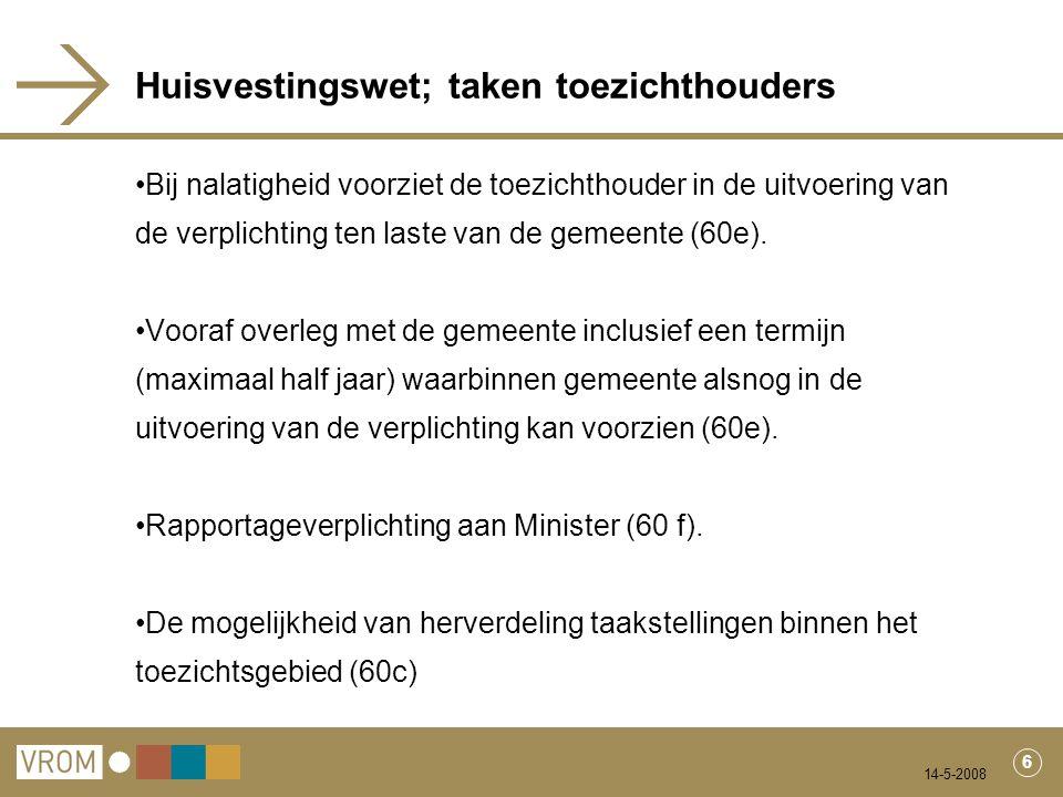 14-5-2008 7 Huisvestingswet; taken rijk Bekendmaking gemeentelijke taakstellingen (60b).