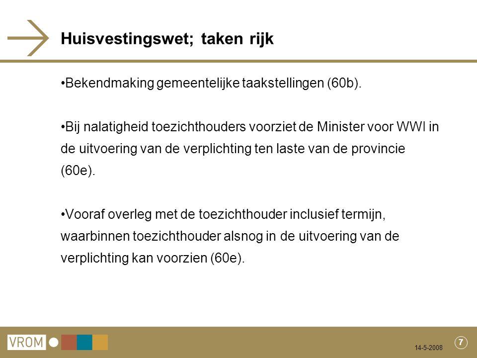14-5-2008 7 Huisvestingswet; taken rijk Bekendmaking gemeentelijke taakstellingen (60b). Bij nalatigheid toezichthouders voorziet de Minister voor WWI