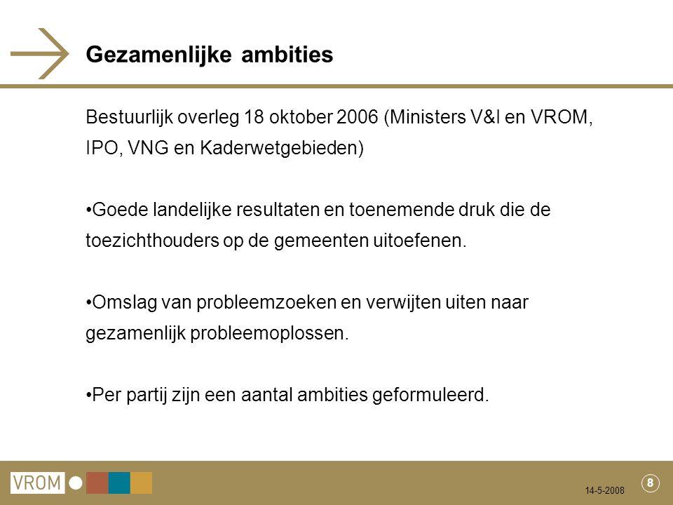 14-5-2008 8 Gezamenlijke ambities Bestuurlijk overleg 18 oktober 2006 (Ministers V&I en VROM, IPO, VNG en Kaderwetgebieden) Goede landelijke resultaten en toenemende druk die de toezichthouders op de gemeenten uitoefenen.