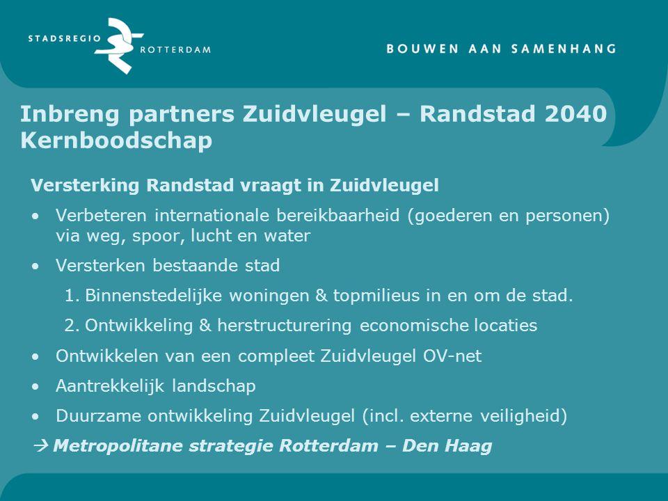 Inbreng partners Zuidvleugel – Randstad 2040 Kernboodschap Versterking Randstad vraagt in Zuidvleugel Verbeteren internationale bereikbaarheid (goeder