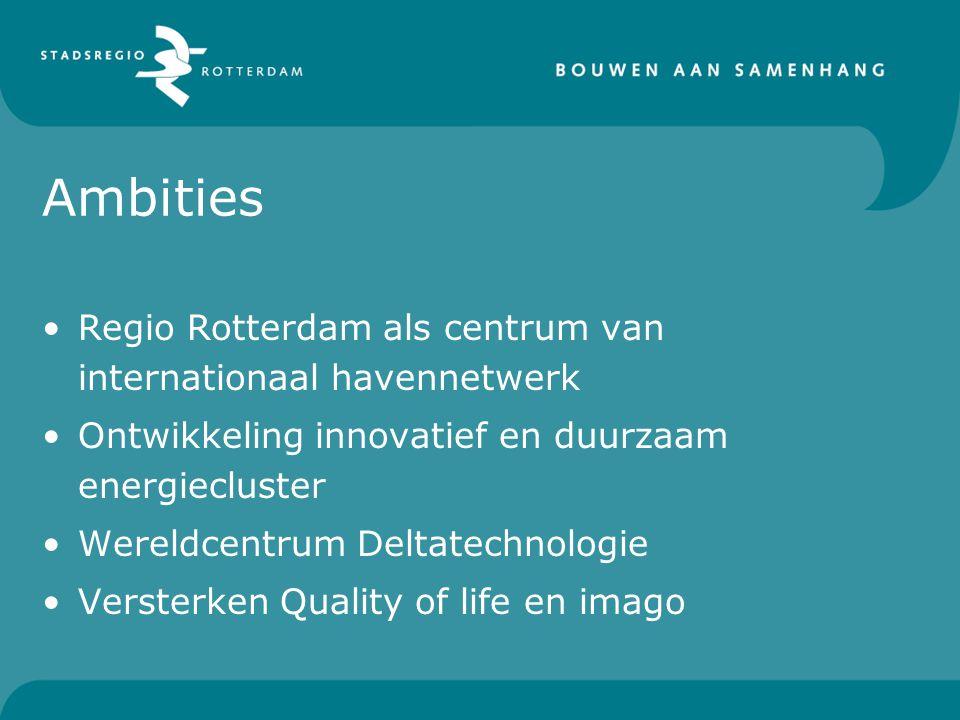 Ambities Regio Rotterdam als centrum van internationaal havennetwerk Ontwikkeling innovatief en duurzaam energiecluster Wereldcentrum Deltatechnologie