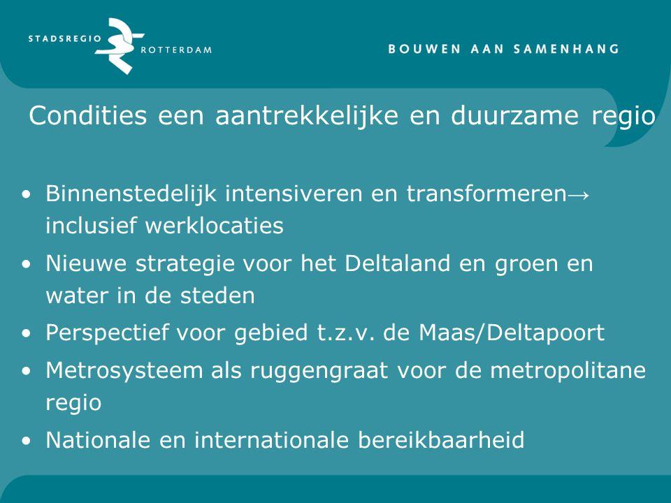 Condities een aantrekkelijke en duurzame regio Binnenstedelijk intensiveren en transformeren → inclusief werklocaties Nieuwe strategie voor het Deltal