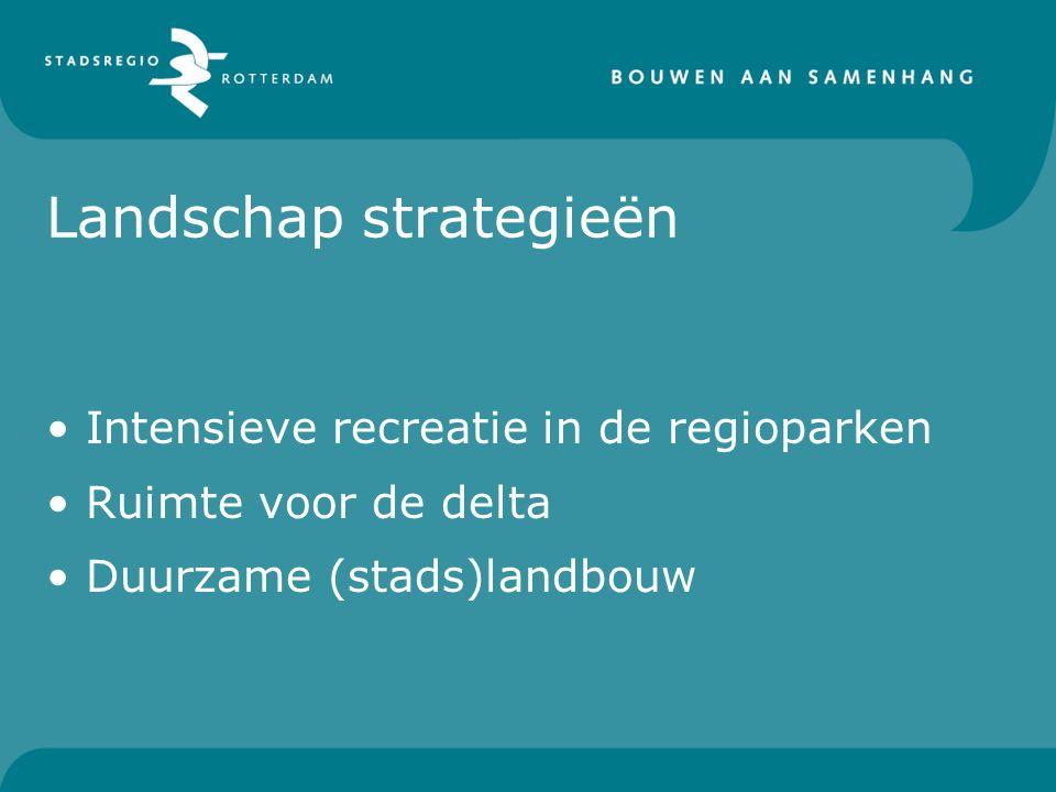 Landschap strategieën Intensieve recreatie in de regioparken Ruimte voor de delta Duurzame (stads)landbouw