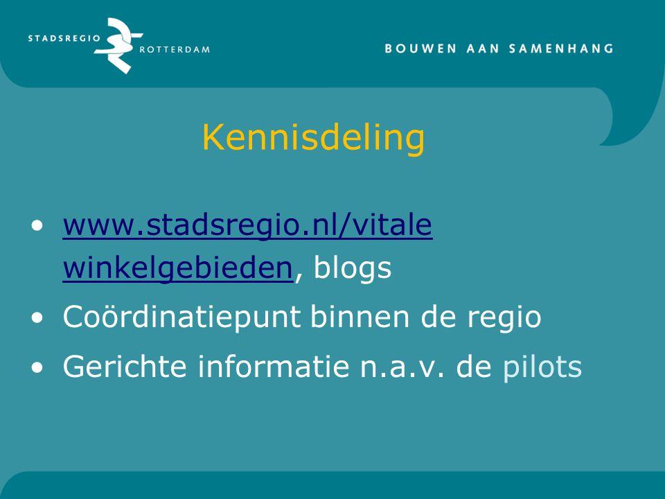 Kennisdeling www.stadsregio.nl/vitale winkelgebieden, blogswww.stadsregio.nl/vitale winkelgebieden Coördinatiepunt binnen de regio Gerichte informatie n.a.v.