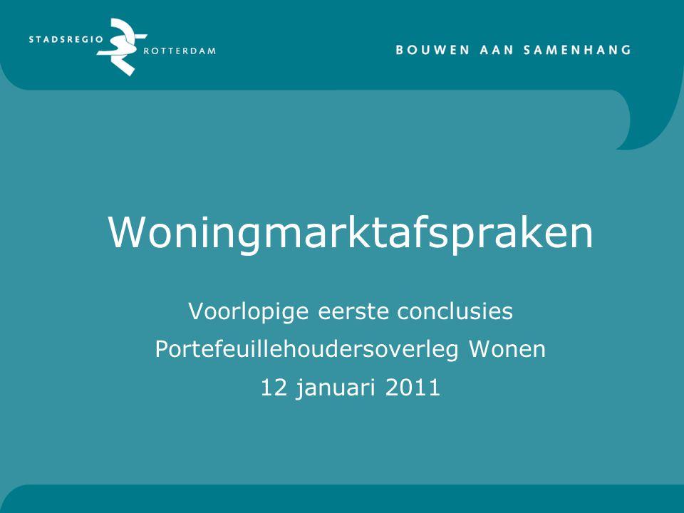 Woningmarktafspraken Voorlopige eerste conclusies Portefeuillehoudersoverleg Wonen 12 januari 2011