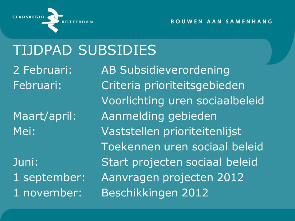 TIJDPAD SUBSIDIES 2 Februari:AB Subsidieverordening Februari:Criteria prioriteitsgebieden Voorlichting uren sociaalbeleid Maart/april:Aanmelding gebie