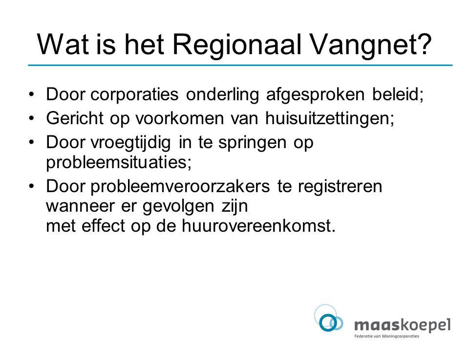Wat is het Regionaal Vangnet? Door corporaties onderling afgesproken beleid; Gericht op voorkomen van huisuitzettingen; Door vroegtijdig in te springe