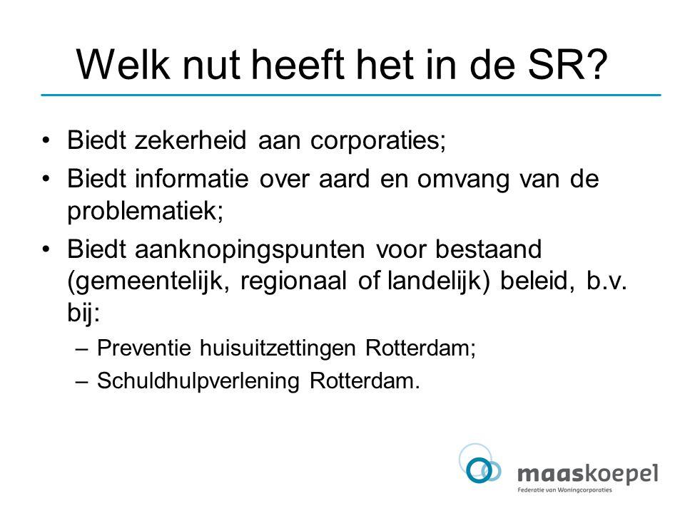 Welk nut heeft het in de SR? Biedt zekerheid aan corporaties; Biedt informatie over aard en omvang van de problematiek; Biedt aanknopingspunten voor b