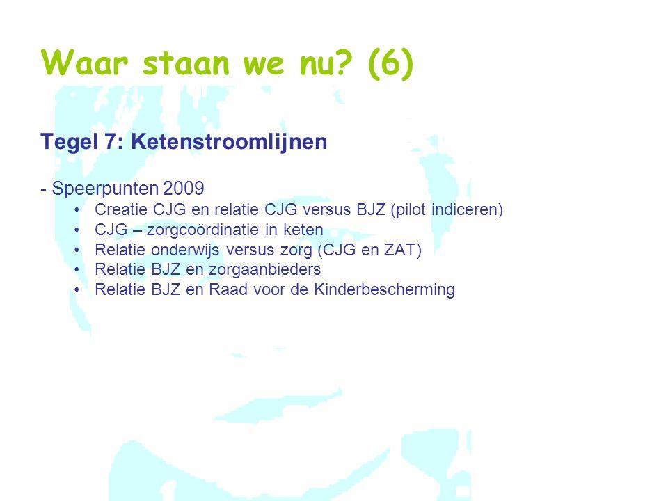 Waar staan we nu? (6) Tegel 7: Ketenstroomlijnen - Speerpunten 2009 Creatie CJG en relatie CJG versus BJZ (pilot indiceren) CJG – zorgcoördinatie in k