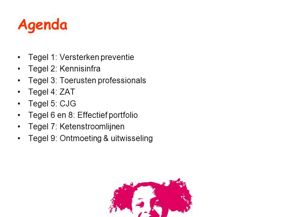 Tegel 1: Versterken preventie Tegel 2: Kennisinfra Tegel 3: Toerusten professionals Tegel 4: ZAT Tegel 5: CJG Tegel 6 en 8: Effectief portfolio Tegel
