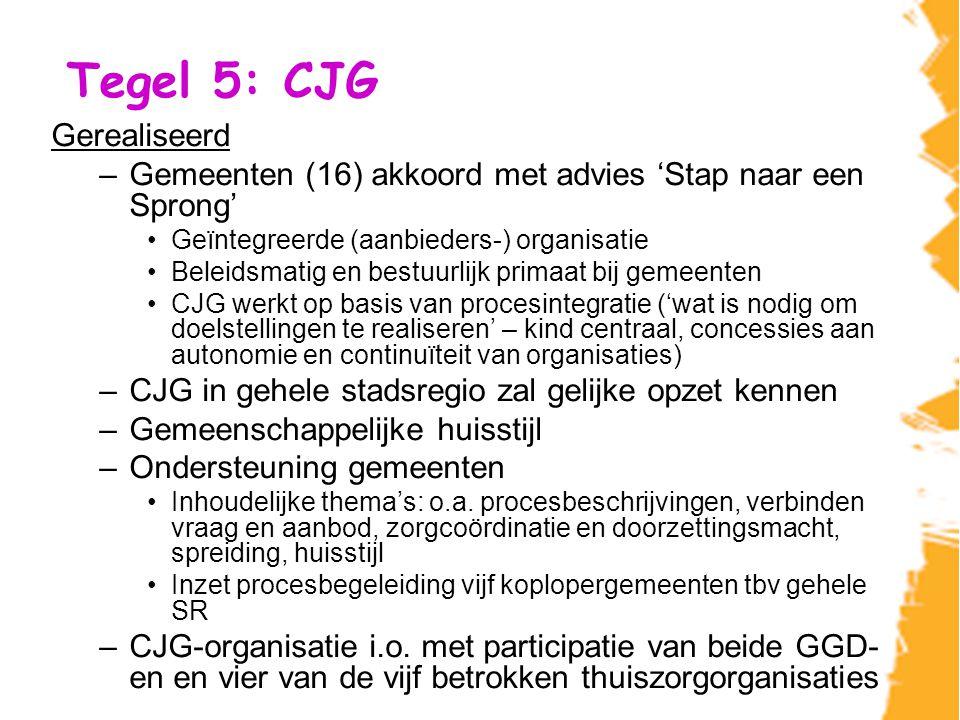 Tegel 5: CJG (2) 2009/2010 Live gaan van CJG-organisatie Relatie gemeenten - Ontsluiten meerwaarde gemeenten - Sturingsrelatie inrichten, met voldoende betrokkenheid regiogemeenten en participerende instellingen Pilots indicering Vraagstuk zorgcoördinatie Inrichten portfolio CJG, afgestemd op de vraag Verdere completering inrichting portfolio CJG- organisatie