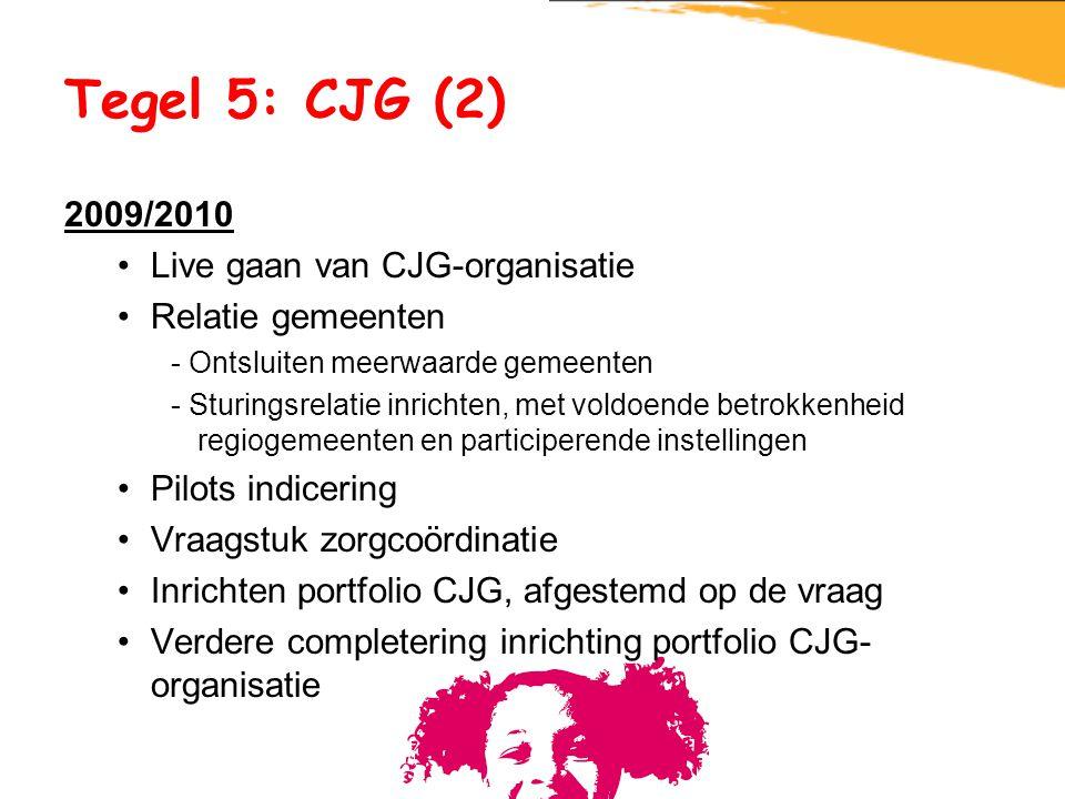 Tegel 5: CJG (2) 2009/2010 Live gaan van CJG-organisatie Relatie gemeenten - Ontsluiten meerwaarde gemeenten - Sturingsrelatie inrichten, met voldoend