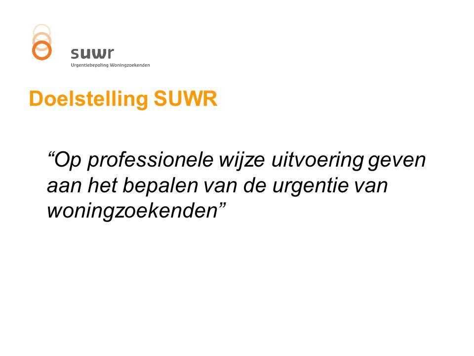 """Doelstelling SUWR """"Op professionele wijze uitvoering geven aan het bepalen van de urgentie van woningzoekenden"""""""