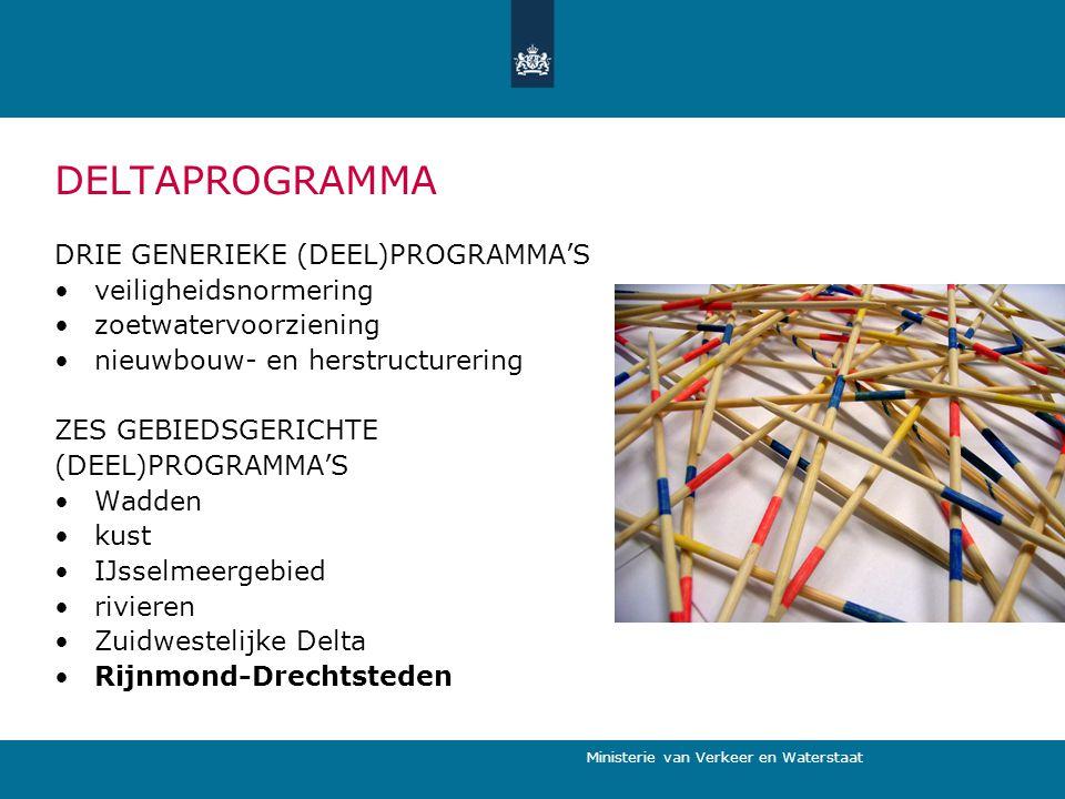 Ministerie van Verkeer en Waterstaat DELTAPROGRAMMA DRIE GENERIEKE (DEEL)PROGRAMMA'S veiligheidsnormering zoetwatervoorziening nieuwbouw- en herstruct