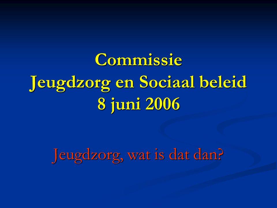 Commissie Jeugdzorg en Sociaal beleid 8 juni 2006 Jeugdzorg, wat is dat dan?
