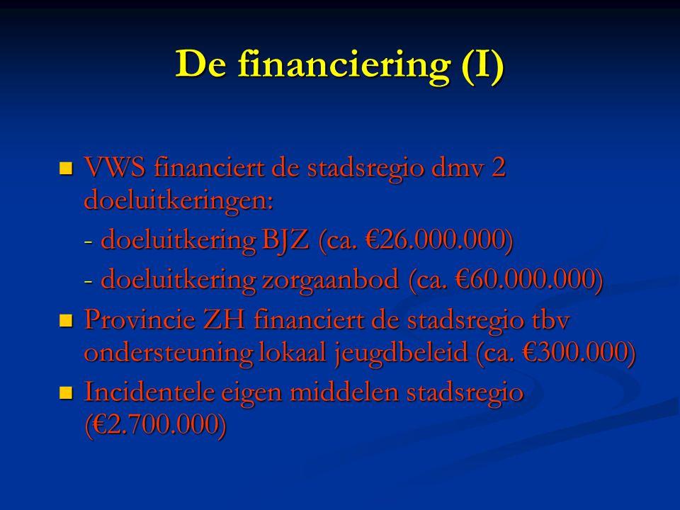 De financiering (I) VWS financiert de stadsregio dmv 2 doeluitkeringen: VWS financiert de stadsregio dmv 2 doeluitkeringen: - doeluitkering BJZ (ca.