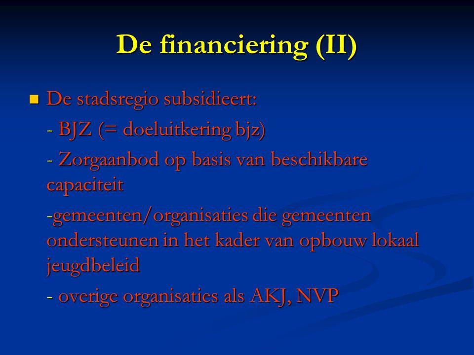 De financiering (II) De stadsregio subsidieert: De stadsregio subsidieert: - BJZ (= doeluitkering bjz) - Zorgaanbod op basis van beschikbare capaciteit -gemeenten/organisaties die gemeenten ondersteunen in het kader van opbouw lokaal jeugdbeleid - overige organisaties als AKJ, NVP