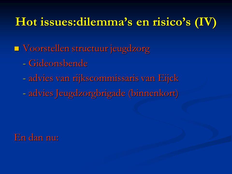 Hot issues:dilemma's en risico's (IV) Voorstellen structuur jeugdzorg Voorstellen structuur jeugdzorg - Gideonsbende - advies van rijkscommissaris van Eijck - advies Jeugdzorgbrigade (binnenkort) En dan nu: