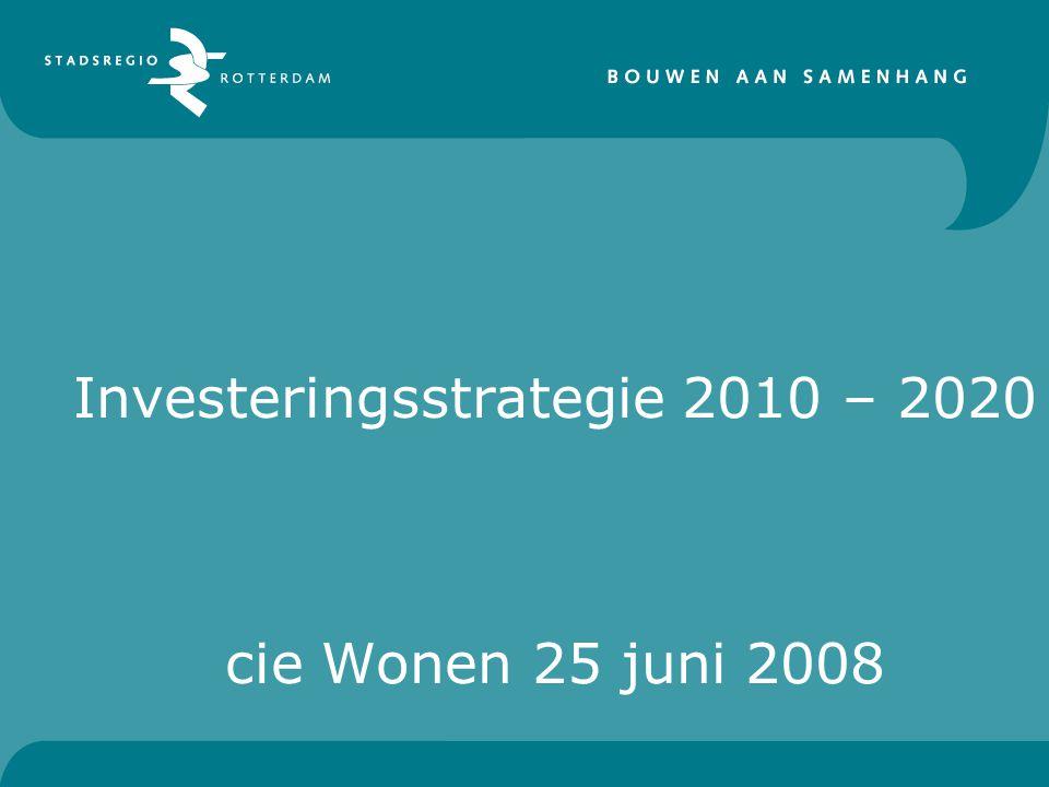Investeringsstrategie 2010 – 2020 cie Wonen 25 juni 2008
