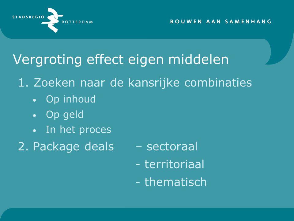 Vergroting effect eigen middelen 1.Zoeken naar de kansrijke combinaties Op inhoud Op geld In het proces 2.