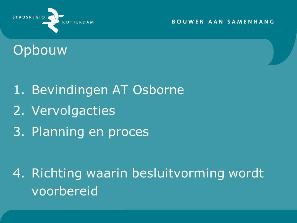 Opbouw 1.Bevindingen AT Osborne 2.Vervolgacties 3.Planning en proces 4.Richting waarin besluitvorming wordt voorbereid