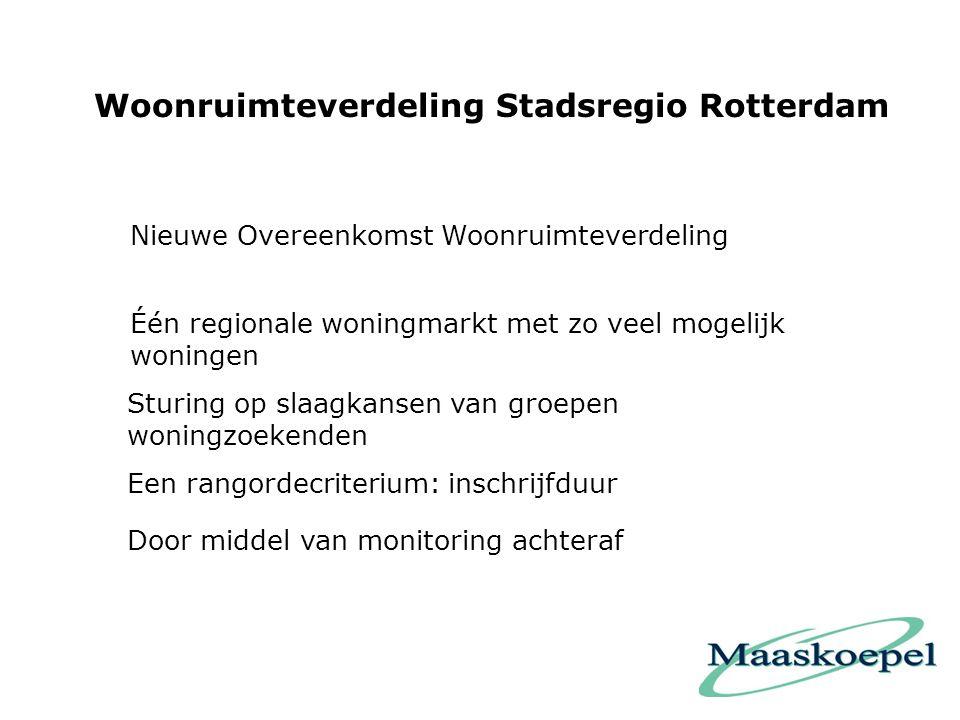 Woonruimteverdeling Stadsregio Rotterdam Één regionale woningmarkt met zo veel mogelijk woningen Sturing op slaagkansen van groepen woningzoekenden Een rangordecriterium: inschrijfduur Nieuwe Overeenkomst Woonruimteverdeling Door middel van monitoring achteraf