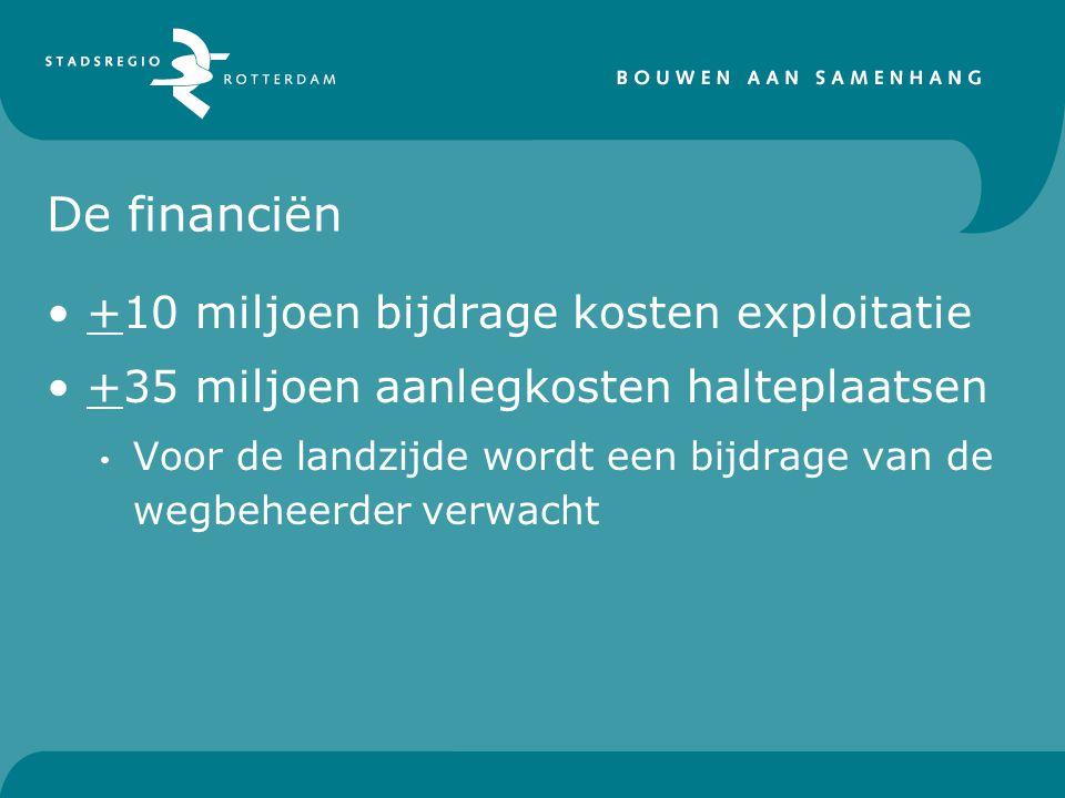 De financiën +10 miljoen bijdrage kosten exploitatie +35 miljoen aanlegkosten halteplaatsen Voor de landzijde wordt een bijdrage van de wegbeheerder verwacht