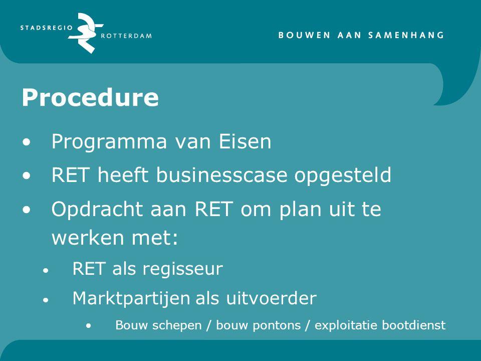 Procedure Programma van Eisen RET heeft businesscase opgesteld Opdracht aan RET om plan uit te werken met: RET als regisseur Marktpartijen als uitvoerder Bouw schepen / bouw pontons / exploitatie bootdienst