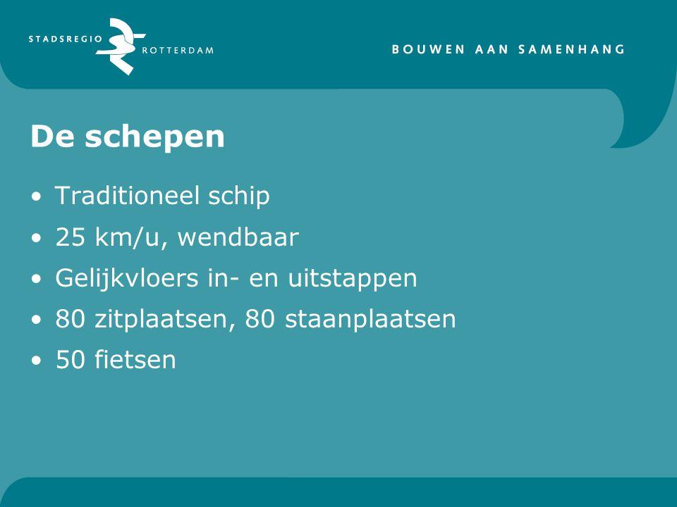 De schepen Traditioneel schip 25 km/u, wendbaar Gelijkvloers in- en uitstappen 80 zitplaatsen, 80 staanplaatsen 50 fietsen