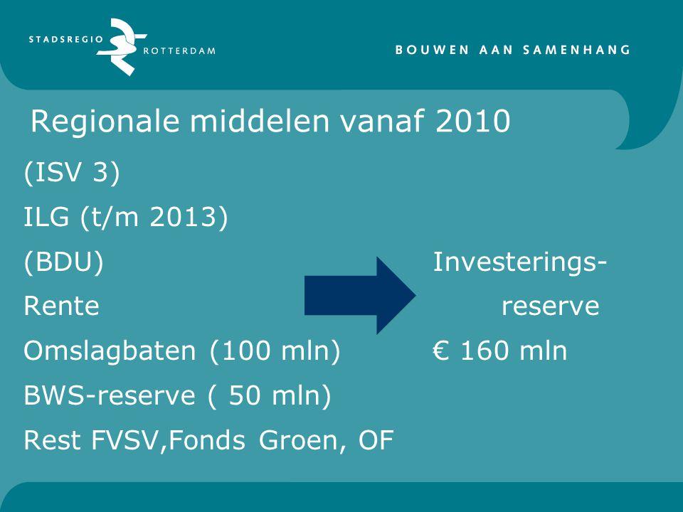 Regionale middelen vanaf 2010 (ISV 3) ILG (t/m 2013) (BDU) Investerings- Rentereserve Omslagbaten (100 mln)€ 160 mln BWS-reserve ( 50 mln) Rest FVSV,F