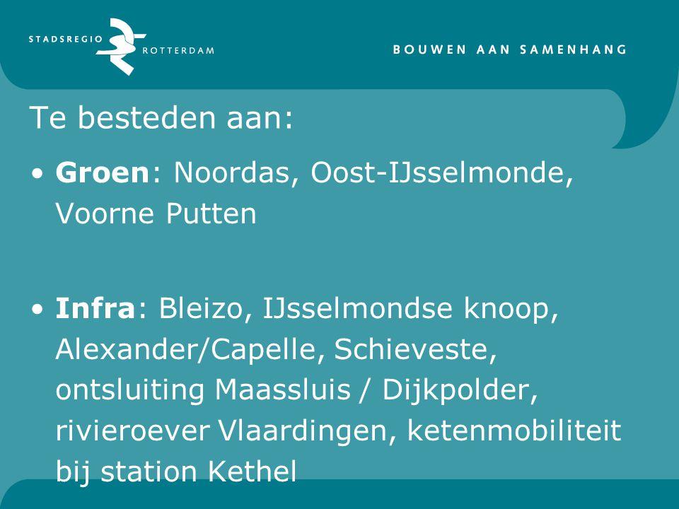 Te besteden aan: Groen: Noordas, Oost-IJsselmonde, Voorne Putten Infra: Bleizo, IJsselmondse knoop, Alexander/Capelle, Schieveste, ontsluiting Maasslu